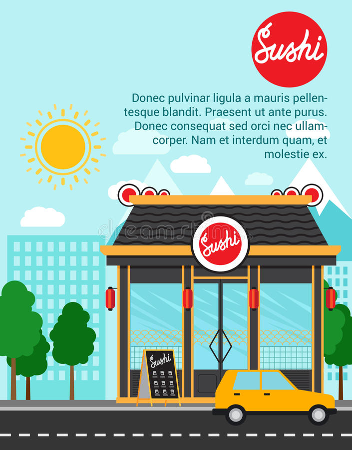 Sushi advertising banner with shop building. And landscape, vector illustration royalty free illustration