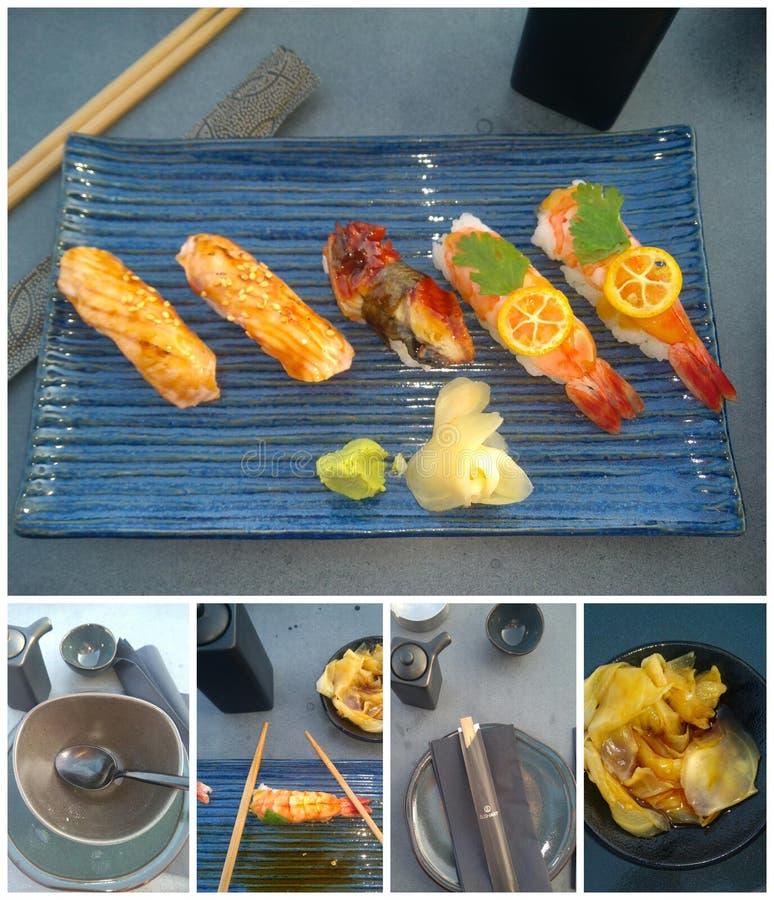 Sushi art posiłek kumquar, łosoś i japoński węgorz zdjęcia royalty free