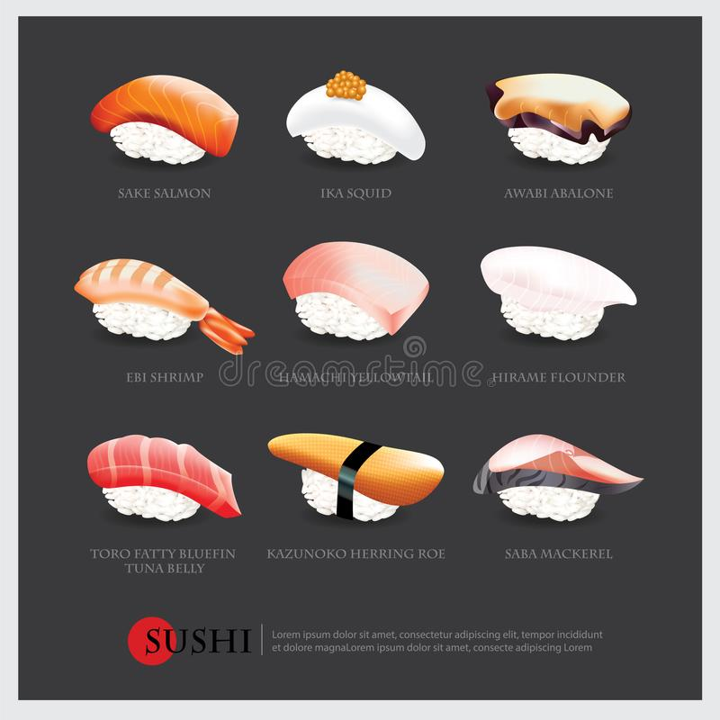 Sushi asian food realistic isolated stock illustration