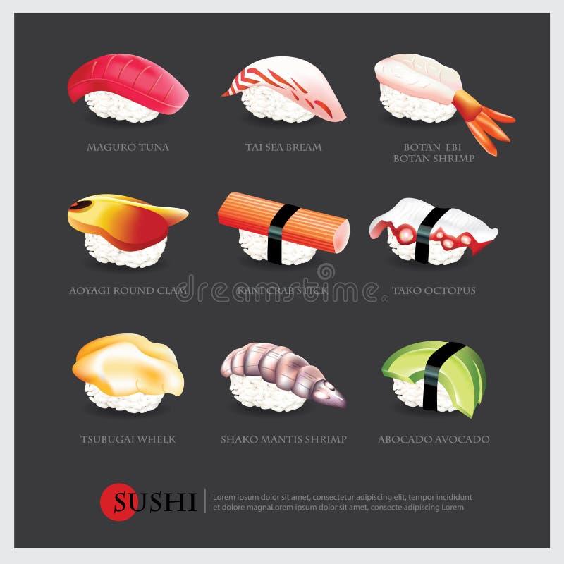Sushi asian food realistic isolated. Vector illustration stock illustration