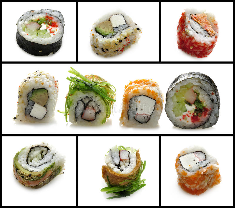 Sushi Assortment. Fresh Sushi Assortment On White Background stock photo