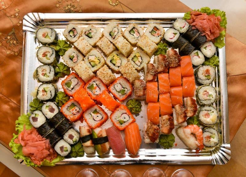 Asian food sushi assortment platter royalty free stock image