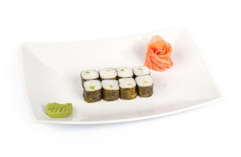 Sushi avec le feston de mer d'une plaque image stock