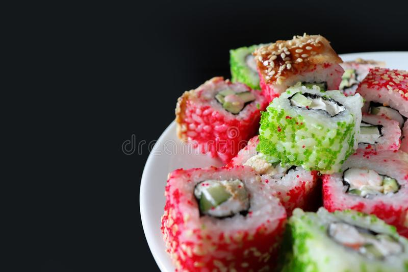 Beautiful sushi with caviar. Japanese food. royalty free stock photography