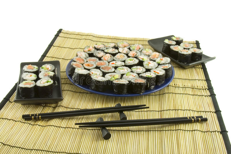 Download Sushi On A Bamboo Mat Stock Image - Image: 10762451