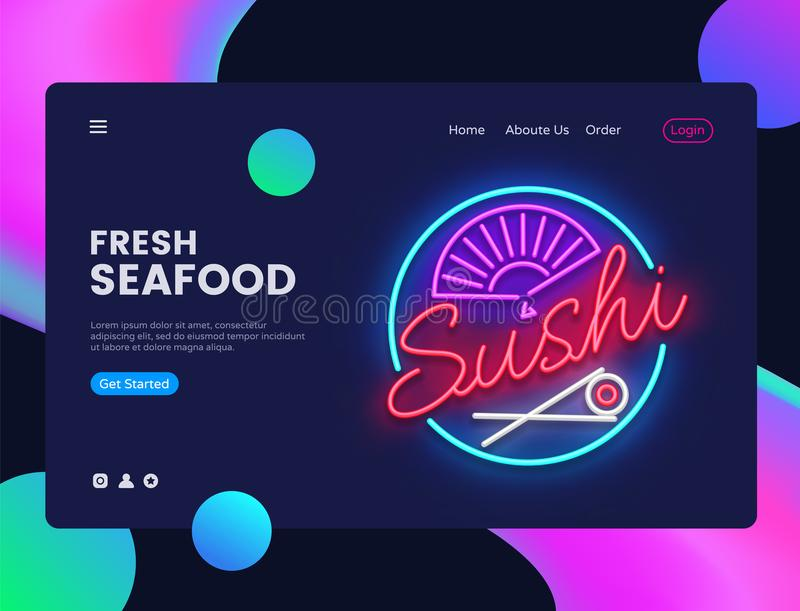 Sushi banner design template vector. Seafood web banner interface, Neon sign, modern trend design, neon style web banner. Bright neon advertising. Vector stock illustration