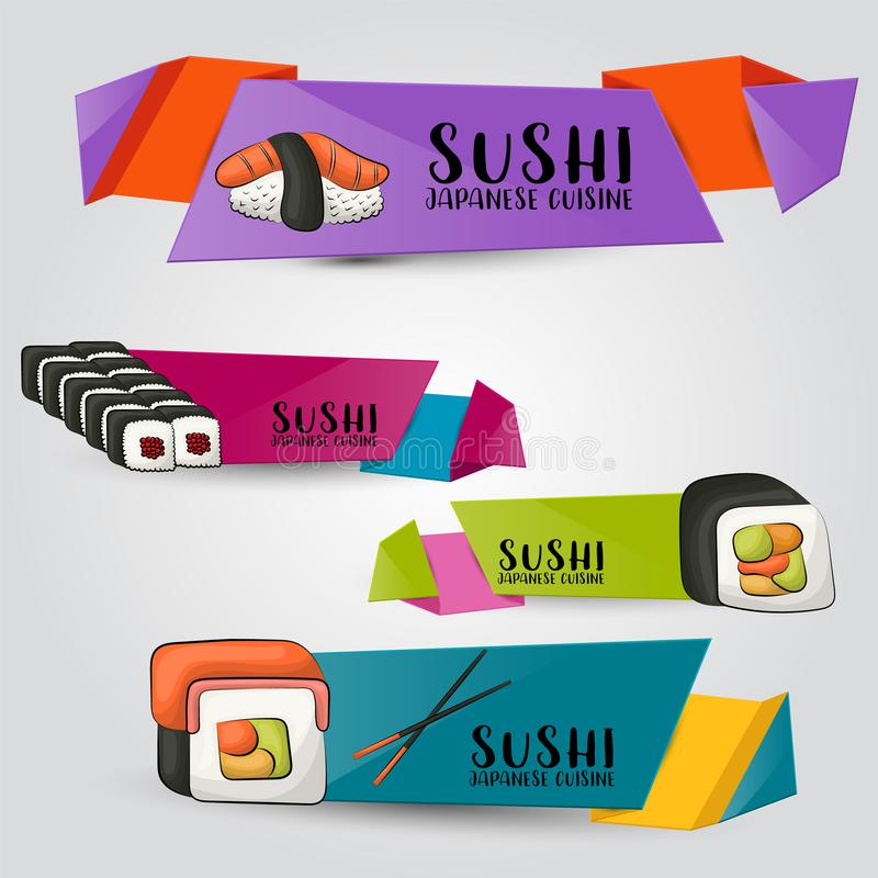Sushi bar and asian restaurant horizontal banner set. Japanese food advertisement design template. Cute labels or stickers in a c royalty free illustration
