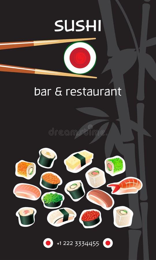 Sushi-Bar-Fliegerschablone Japanische Küche lizenzfreie abbildung