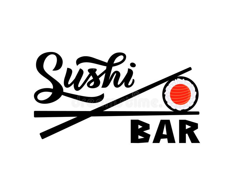 Sushi bar hand lettering modern calligraphy, emblem of Japanese food with icon shape of sushi, roll and sticks.Vector logo vector illustration
