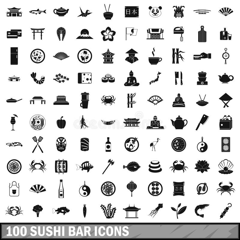 100 Sushi-Bar-Ikonen eingestellt, einfache Art vektor abbildung