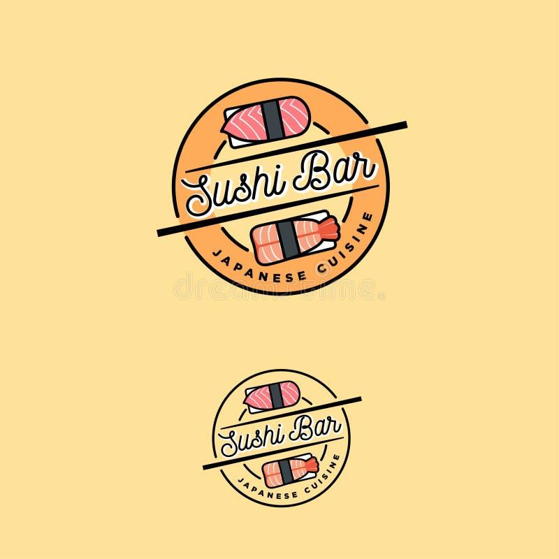 Sushi bar logo. Japanese cuisine emblem. Sushi and nigiri icons. royalty free illustration