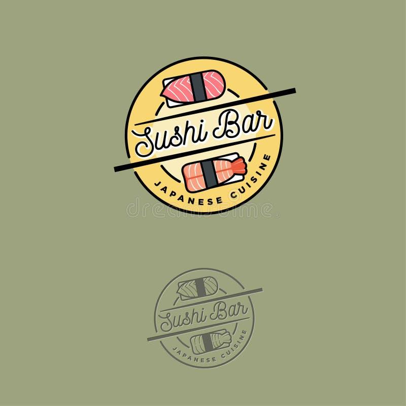 Sushi bar logo. Japanese cuisine emblem. Sushi and nigiri icons. vector illustration