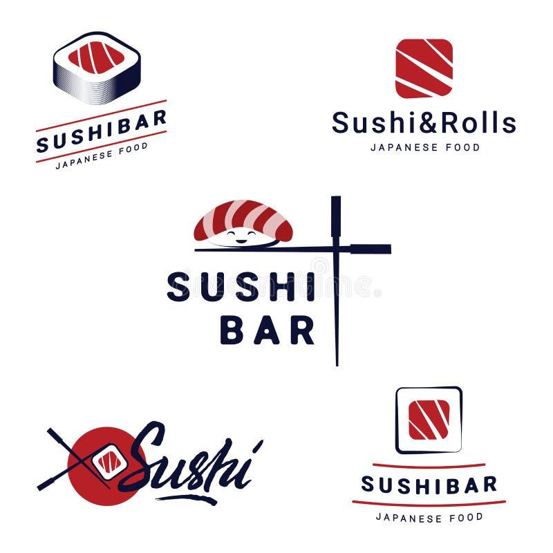 Sushi-Bar-Logo-Schablonen stellten Sammlung Vektorlogos für Sushi ein Logodesign für Restaurants des japanischen Lebensmittels vektor abbildung