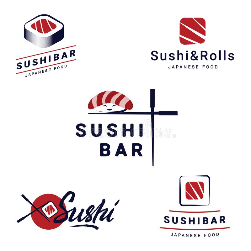 Sushi Bar Logos Templates Set Collection of vector logos for sushi. Logo design for restaurants of Japanese food vector illustration
