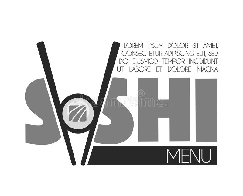 Sushi bar menu monochrome emblem with sticks and roll. Add your text. Delicious rolls with fresh fish, wooden chopsticks and big thick signs on promotional royalty free illustration