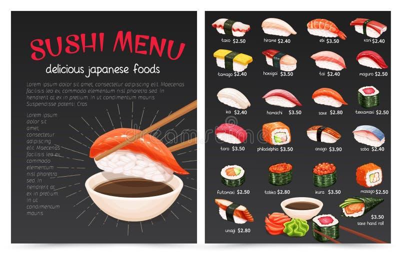 Sushi-Bar munu vektor abbildung