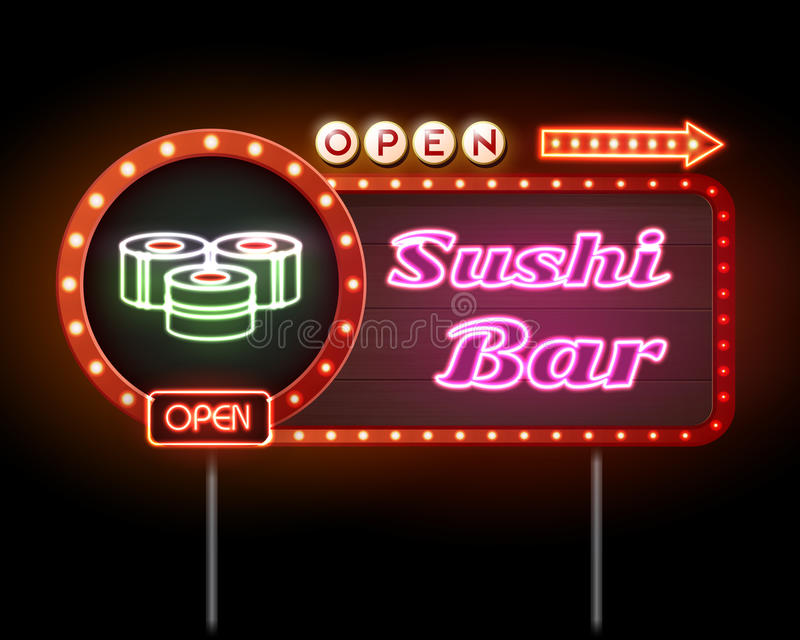 Download Sushi bar neon sign stock photo. Image of object, asian - 70774450