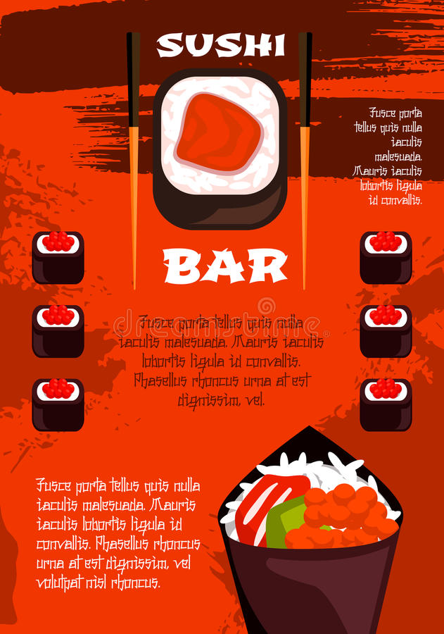 Sushi Bar Poster Template Japanese Cuisine Design Stock Vector