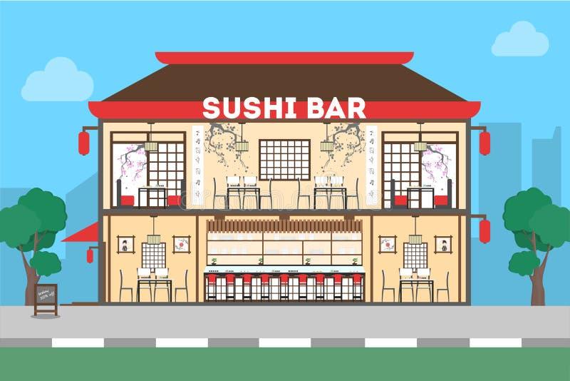 Download Sushi-Bar-Restaurant vektor abbildung. Illustration von flach - 90228511