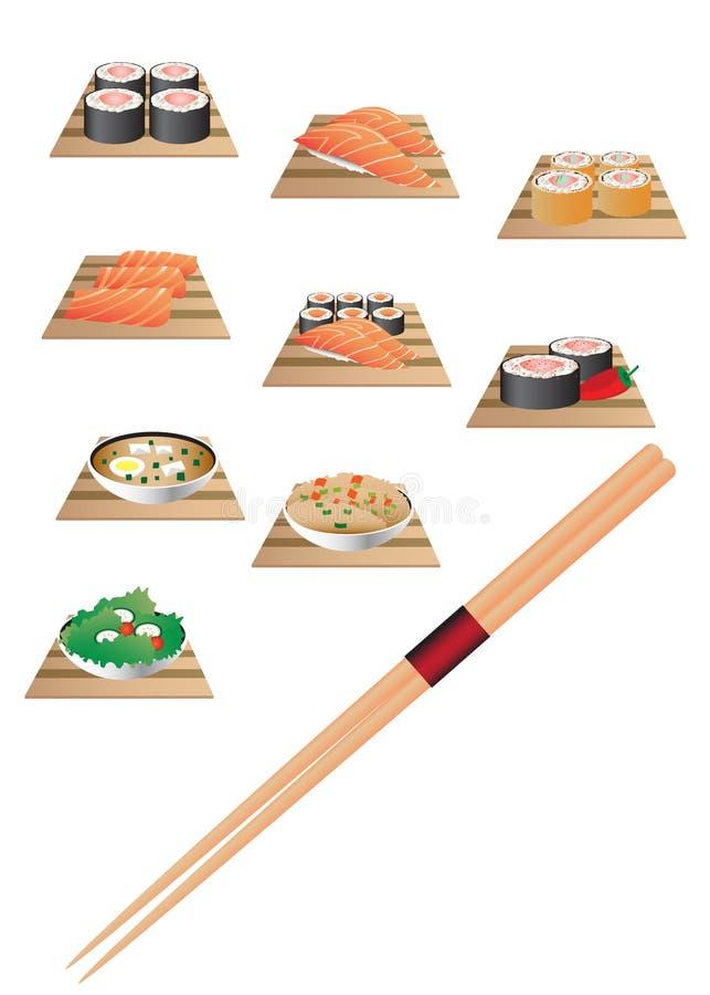 Sushi bar set. Set for sushi bar. Japanese cuisine royalty free illustration