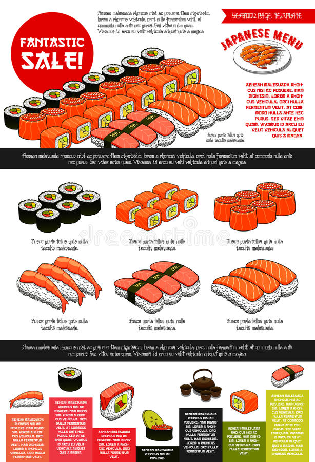 Sushi-Bar-Vektor-Menüschablone der japanischen Küche vektor abbildung