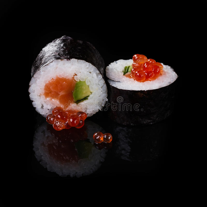 Sushi on black background royalty free stock images