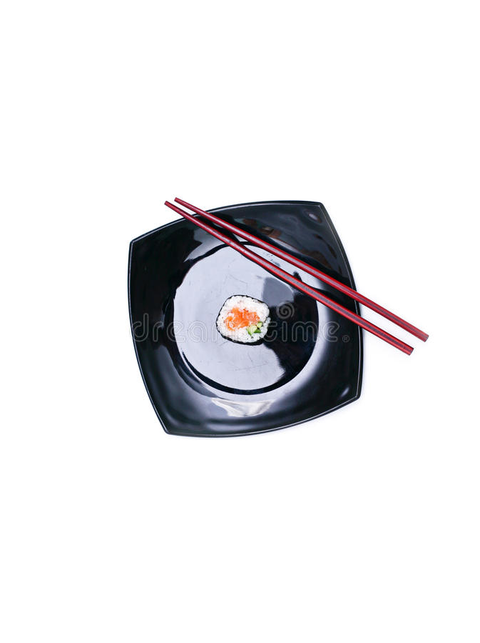 Download Sushi on black plate stock photo. Image of culture, light - 17990800