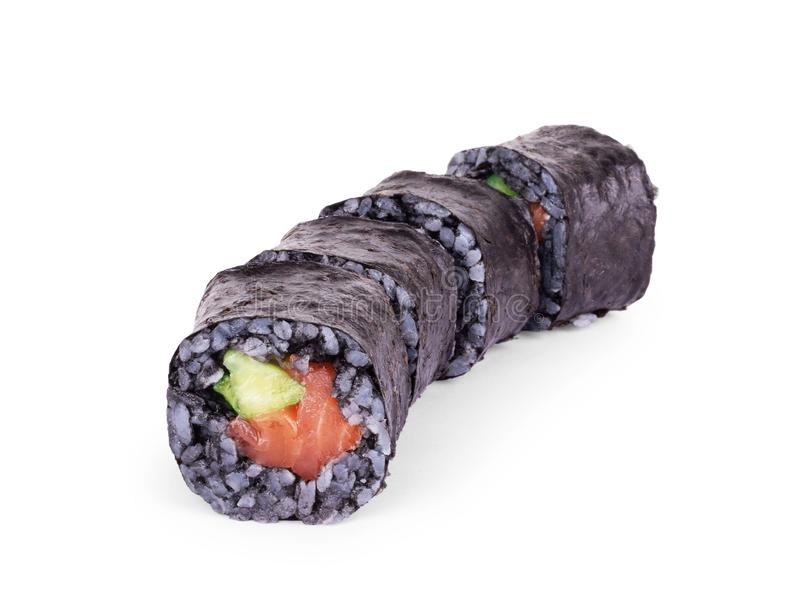 Sushi with black rice on a white background.  stock photos