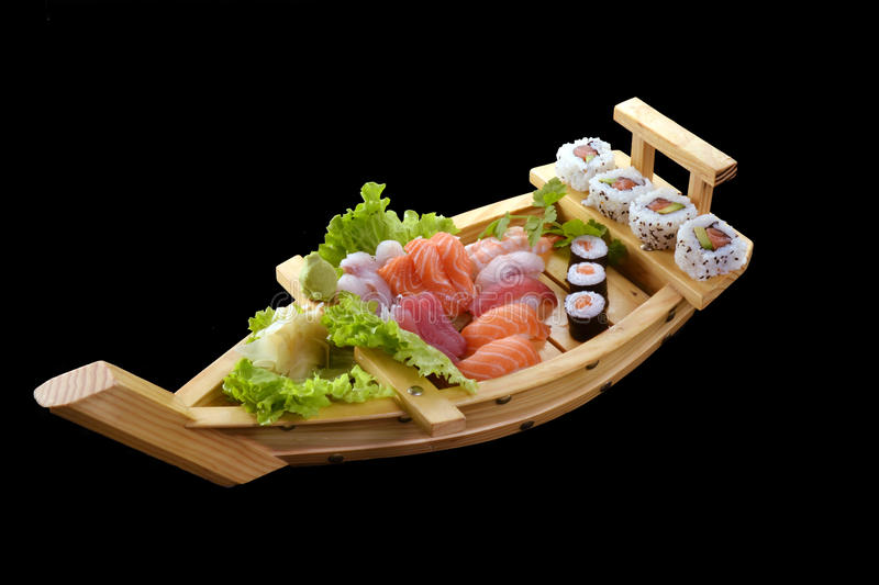 Sushi boat. royalty free stock photo
