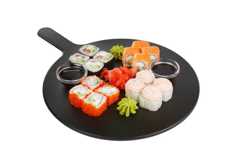 Sushi, broodjes op een wit geïsoleerde achtergrond royalty-vrije stock foto