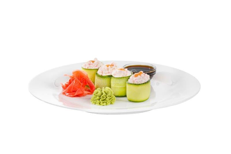 Sushi, broodjes op een wit geïsoleerde achtergrond stock afbeelding