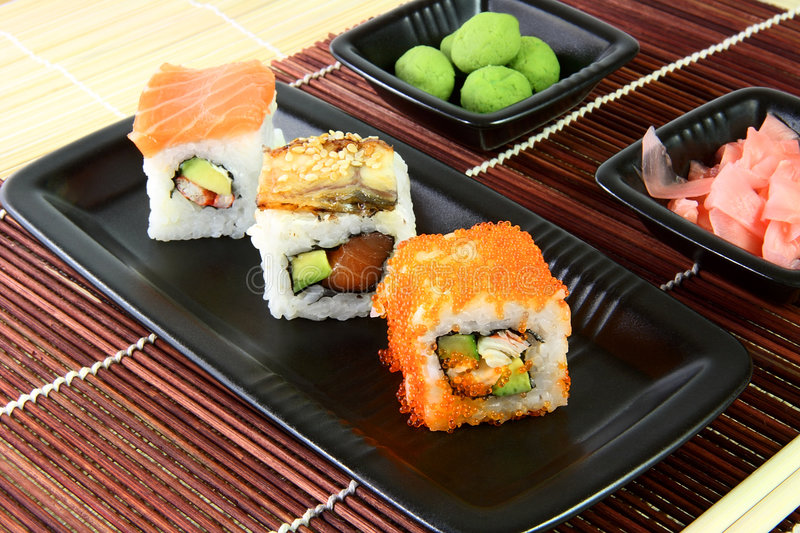 Download Sushi in the brown napkin stock photo. Image of east, maki - 4920690