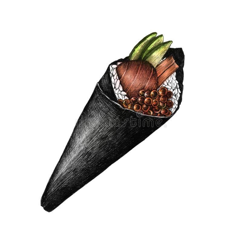 Sushi cónico dibujado mano del temaki libre illustration