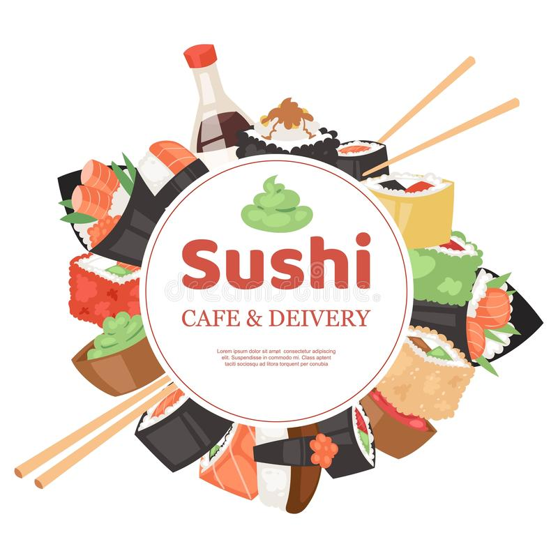 Sushi cafe and delivery banner, poster vector illustration. Japanese cuisine in cartoon style. Asian food wirh rice stock illustration