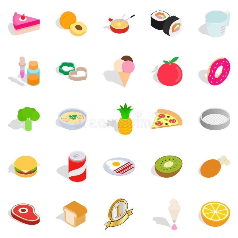 Sushi cafe icons set, isometric style. Sushi cafe icons set. Isometric set of 25 sushi cafe vector icons for web isolated on white background stock illustration