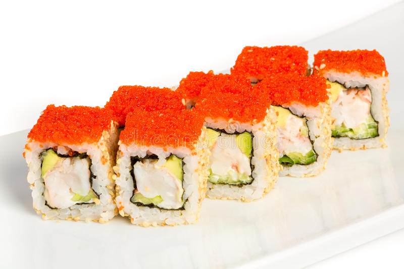 Sushi (California Roll) on a white background royalty free stock photography