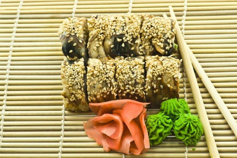 Sushi Canada Rolls con lo zenzero di Wasabi fotografia stock