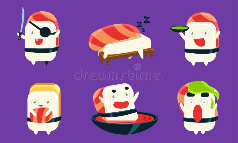 Sushi Cartoon Charters Set, Asian Food, Cute Rolls com Rostos Engraçados em Diferentes Situações e Várias Emoções ilustração stock