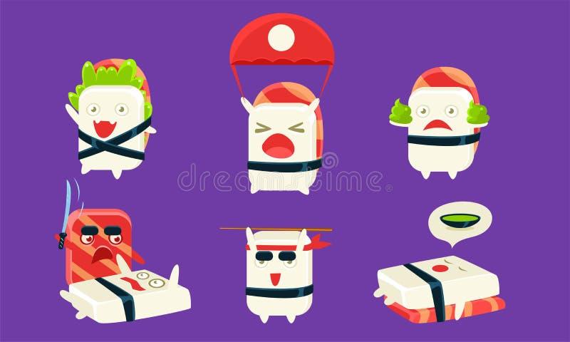 Sushi Cartoon Charters Set, Asian Food, Cute Rolls com Rostos Engraçados em Diferentes Situações e Várias Emoções ilustração do vetor