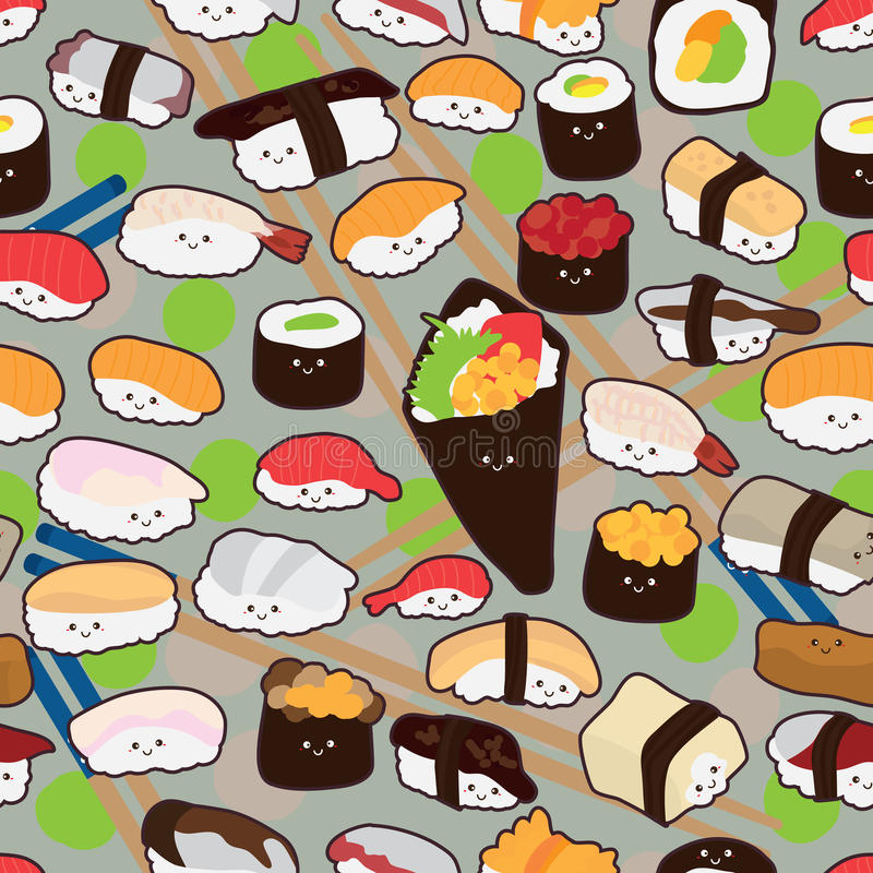 Sushi cartoon smile seamless. This illustration is design Japanese food Sushi cartoon like wear hat or bring rectangle body cute in seamless pattern vector illustration