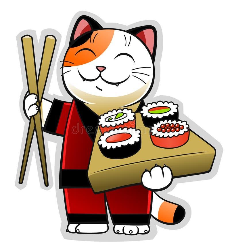 Sushi cat. Happy cartoon cat holding sushi and wooden chopsticks vector illustration