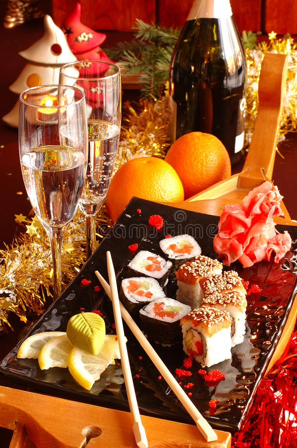 Sushi with champagne stock photos