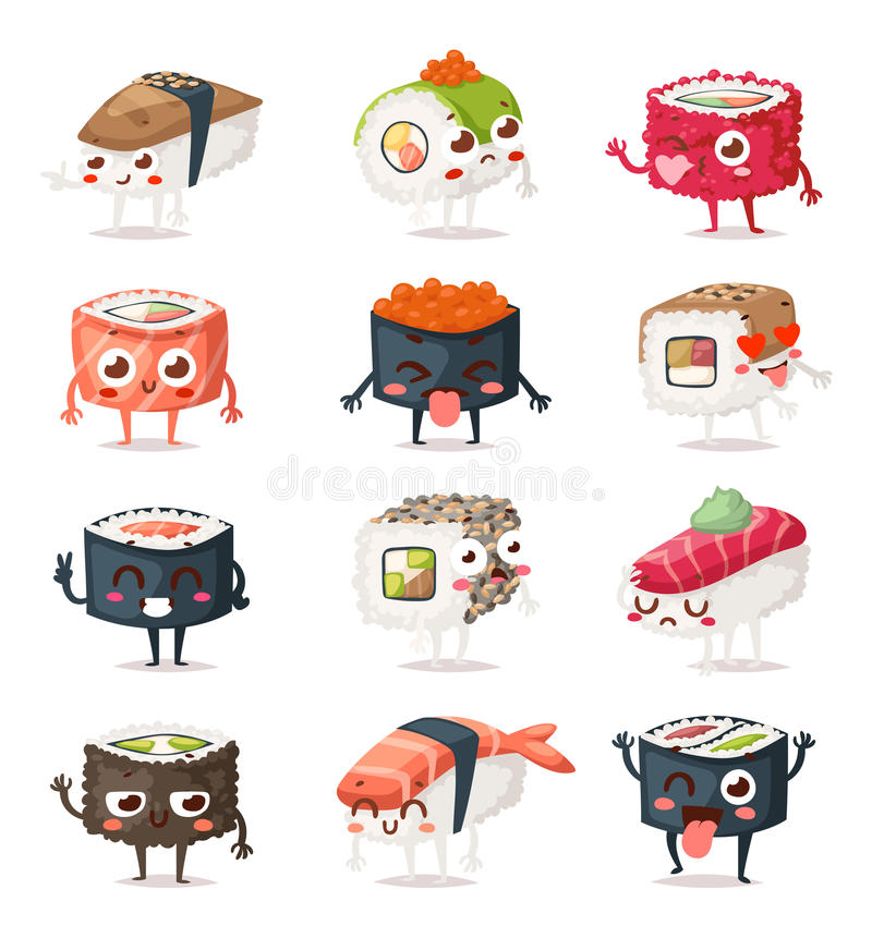 Sushi characters vector set. royalty free illustration