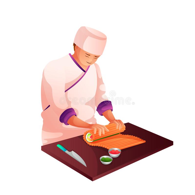 Sushi chef in kitchen flat character vector illustration