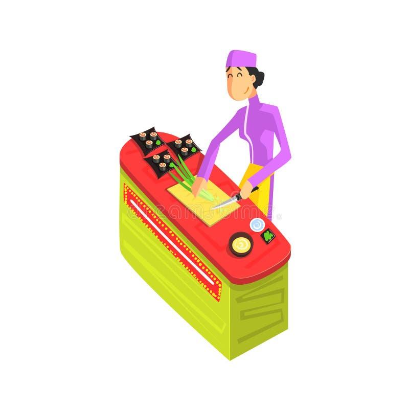 Sushi-Chef Working lizenzfreie abbildung