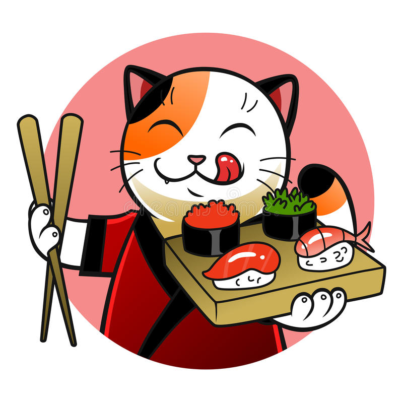 sushi chief cat stock vector illustration of traditional 53436479 rh dreamstime com Tree Frog Vector Leaping Frog Clip Art