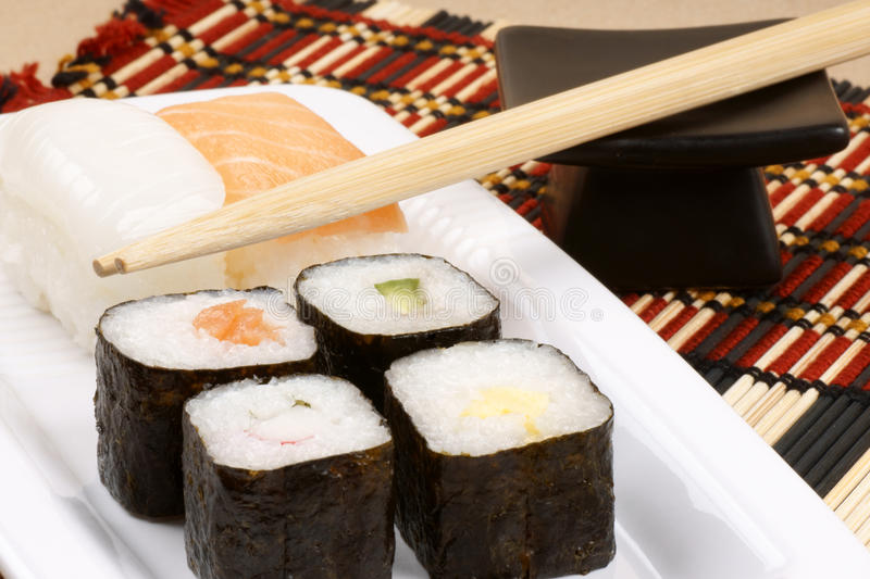 Download Sushi and chopsticks stock photo. Image of white, fish - 13164998