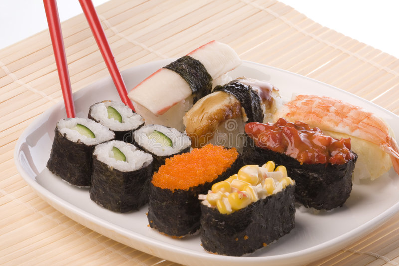Download Sushi with Chopsticks stock image. Image of tradition - 6539531