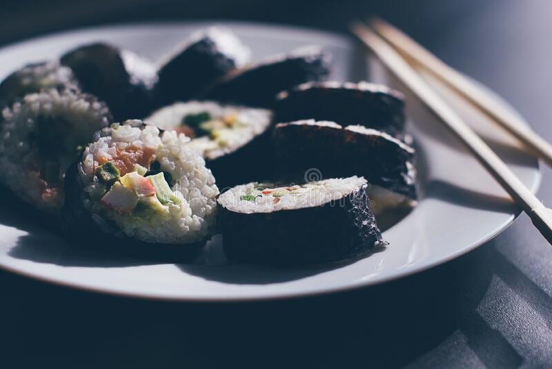 Sushi With Chopsticks Free Public Domain Cc0 Image