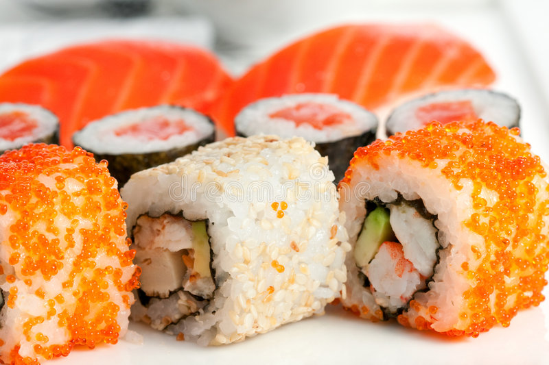 Sushi, close-up imagens de stock royalty free